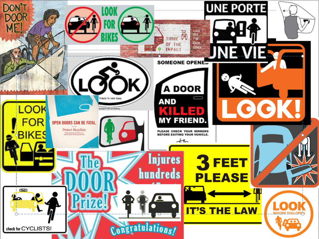 A colorful montage of anti dooring graphics - signs, stickers, posters, decals & drawings from around the globe & web. They call for drivers & cyclists to be cautious, vigilant, & keep a safe distance. Only the Dutch Reach line drawing calls for a switch to the safer far hand habit.