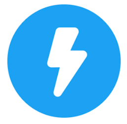 Twitter Moments Icon lightning white lightning bolt icon in blue circle.