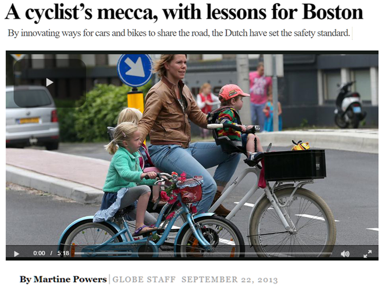 A Cyclist's Mecca, with lessons for Boston, by Martine Powers, Globe Staff, Sept. 22, 2013. long feature article on bicycling culture & safety in The Netherlands. Includes mention of the Dutch far hand method used to avoid dooring cyclists, taught in driver's education classes and tested on the licensing exam.