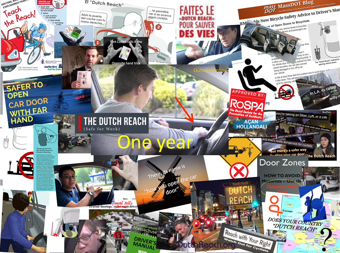A collage or montage collection of Dutch Reach far hand anti dooring graphics reflecting the progress made since the founding of the Dutch Reach Project in 2016 by a Massachusetts physician Michael Charney in Cambridge, Boston, USA to promote the far hand dooring countermeasure to prevent car door crashes by bicyclists.