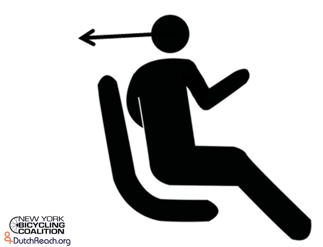 Dutch Reach Universal Sign, Figure swivels for left over-the-shoulder check for on-coming cyclists or other vehicles to avoid dooring crashes. Silhouetted iconic human figure in solid black on white background, seated but swiveled to left with right far (right) hand extended to 'door latch', head turned back over left shoulder with arrow line of sight backwards looking, scanning, for on-coming bicyclists, cyclists, vulnerable users or other traffic or vehicles which might otherwise be doored if occupant opened car door heedlessly. Doorings can result in serious, even fatal injuries to exiting drivers or passengers as well as more commonly to cyclists. The Dutch Reach method shown in the image prevents careless exiting of vehicles. This graphic symbol is intented for traffic signs, parking signs, warning to prevent and avoid doorings by exiting occupants in or adjacent to traffic or travel lanes.