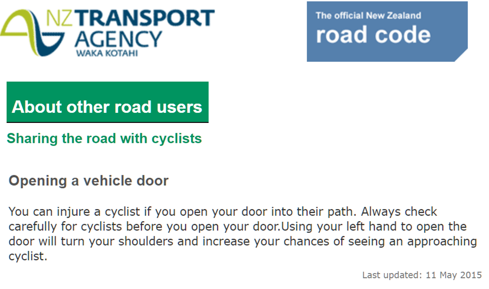 New Zealand Transport Agency introduced the far hand dooring opening method into its 2015 Official Road Code in its its section on Sharing the Road with Bicyclists and other road users. Prior to 2015 the section merely advised drivers not to harm other road users when opening to exit their vehicles.