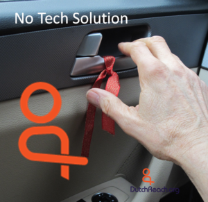 No Tech Solution graphic with Dutch Reach Icon, ribboned door latch & hand signifies Dutch Reach habit.