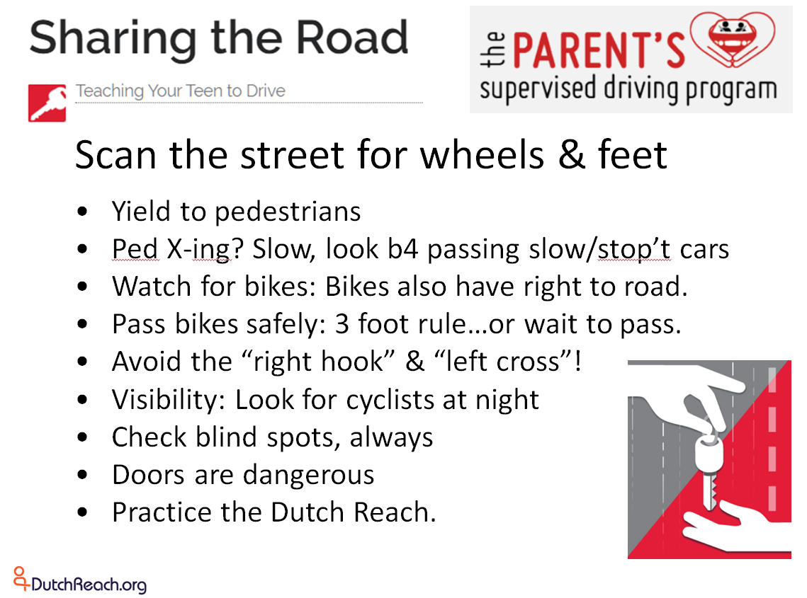 List of topics covered in the Share the Road section of the Parent's Supervised Driving Program for teaching teen drivers and permit holders how to operate motor vehicles safety under Massachusetts' state law, and how to share the road with bicycles, pedestrians and other vehicles. The Dutch Reach for safe exiting of vehicles to avoid doorings of bicyclists, door damage and possible collision with exiting occupants is now included in the guide for parents instructing their teenagers with learners permits.