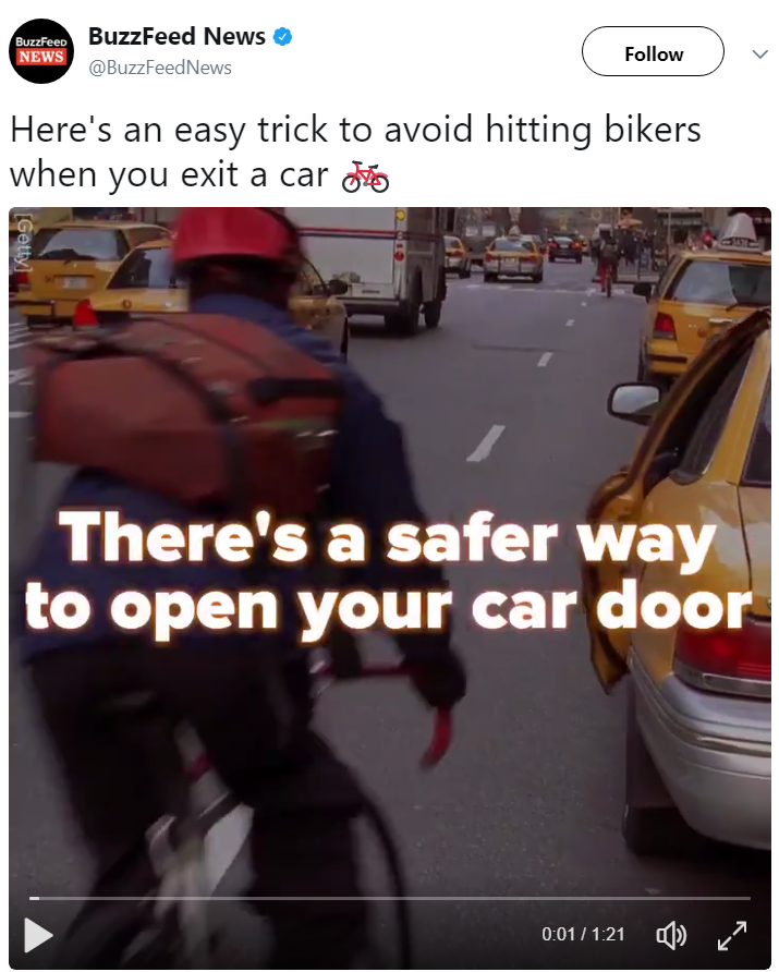 """There is a safer way to open your car door"" twitter video by BuzzFeed News video tech Allyson Laquian. Video focuses on risk posed by careless Uber Lyft rideshare or taxi passengers when exiting vehicles and the hazard of dooring bicyclists. Image is of BuzzFeed News' twitter post with a live video feed. Video presents & explains benefit of the Dutch Reach far hand method to avoid injuring cyclists."