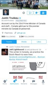 MP Joel Lightbound's call for drivers to adopt the Dutch Reach to prevent bicyclist deaths and injuries by carelessly opened car doors, gets support of Canadian Prime Minister Justin Trudeau, via tweet.