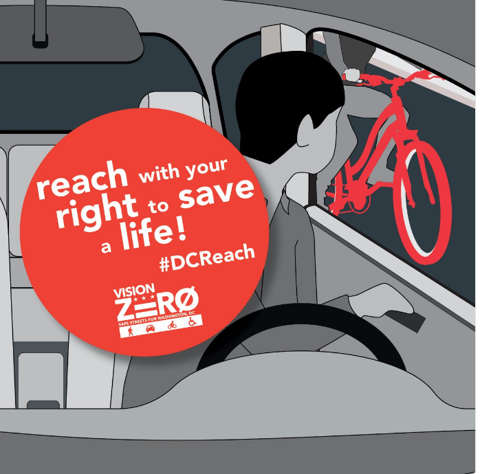 Vision Zero District of Columbia, Washington D.C.  Dutch Reach graphic: Reach with the Right to Save a Life, with illustration of a child looking back  swiveled, over his shoulder to view on-coming cyclist before opening car door, thus avoiding injury to the cyclist or himself or herself.