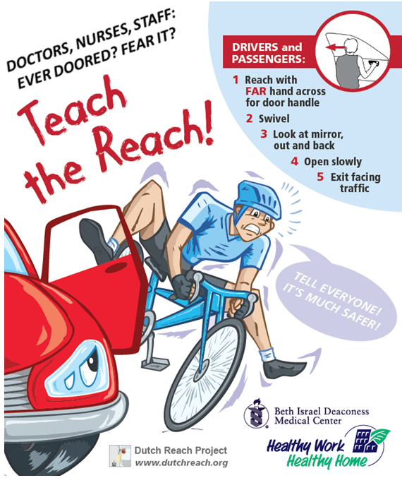 Anti dooring poster teaches the Dutch Reach with cartoon figure of a dooring crash.