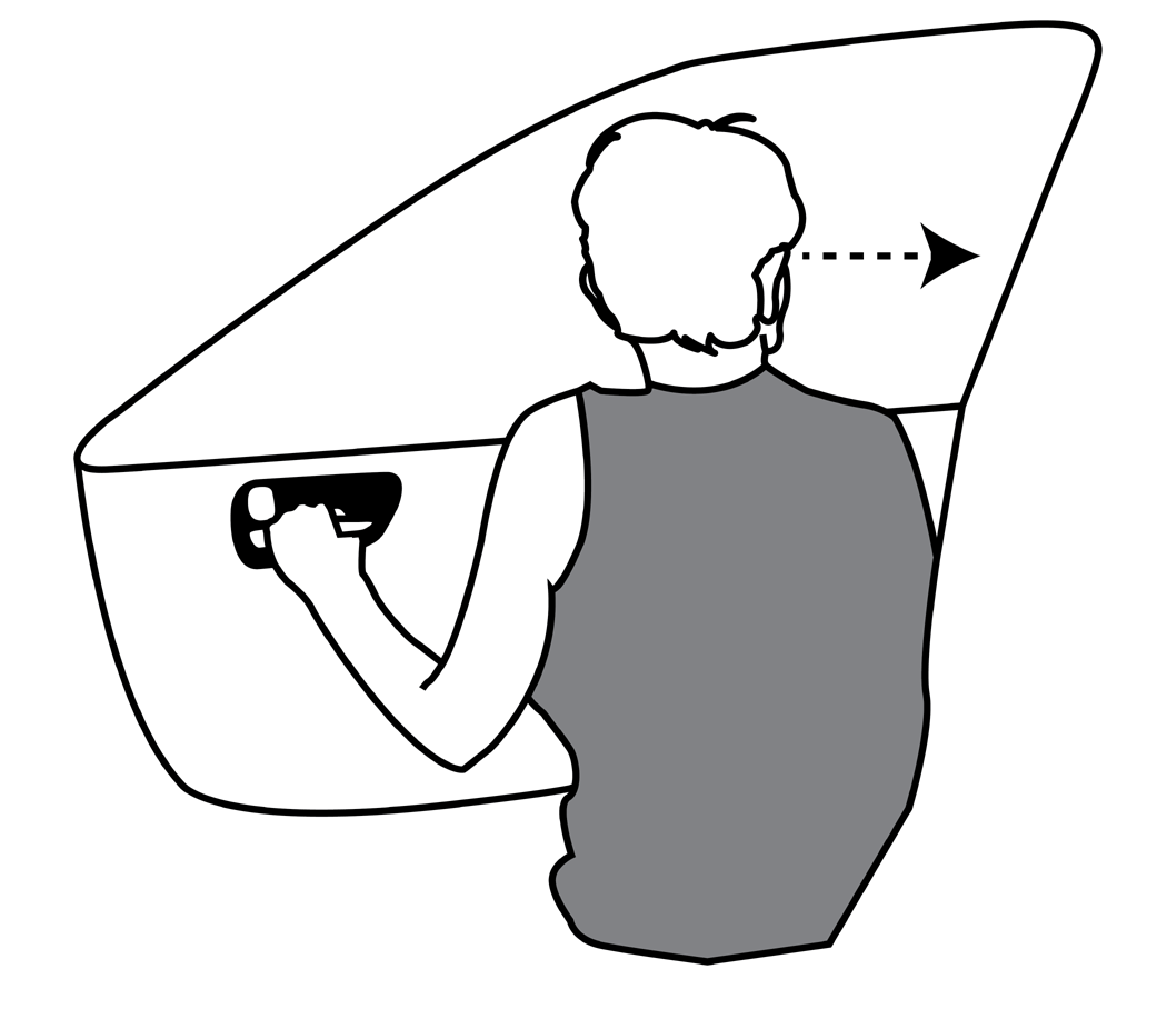 Dutch Reach diagram, image, drawing shows driver using left hand to open car or vehicle's right side door when exiting on the right side of the car. For use in countries such as UK, AU, Indonesia, India, Pakistan, NZ, where vehicles are driven on the left side of the road.