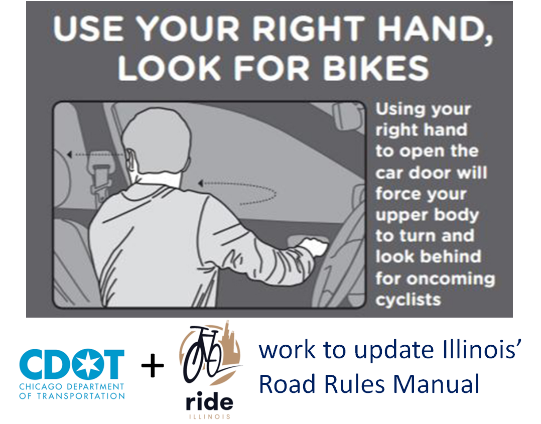Ride Illinois & Chicago DOT seek updates to Illinois Road Rules & Driver's Manual to teach road sharing safety practices to Illinois drivers & passengers.  The Dutch Far hand method for avoding dooring of bicyclists is included.  Graphic & text promote use of the far hand showing a driver using right hand to reach to door latch, swiveling left to look over shoulder for on-coming traffic before opening car door.