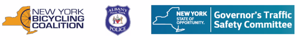 Logos for New York Bicycling Coalition, City of Albany, NY, Police Dept; NYS Governor's Traffic Safety Committee, who produced NYS Road Sharing videos on Bicycle Law in NYS, & which includes the Dutch Reach countermeasure to prevent doorings, cyclists being hit by open car doors.
