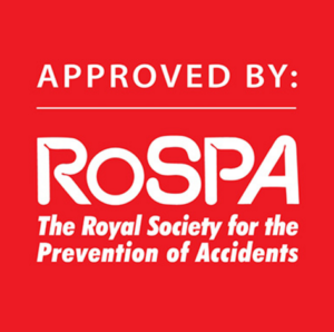"""Approved by RoSPA"" emblem to note the RoSPA endorsed the Dutch Reach in an advisory issued February 1, 2017 in UK."