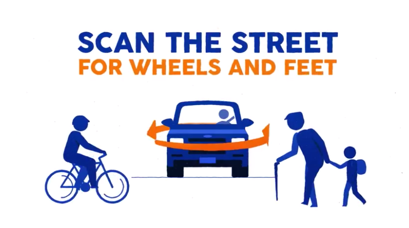 Title page & logo for MassDOT Scan the Streets for Wheels and Feet road sharing safety campaign of 2017. Graphic in orange and blue on white includes slogan text and images of a cyclist, elder pedestrian with cane, on either side of a car with driver with an encircling long orange arrow suggesting the need to look all around for vulnerable users.
