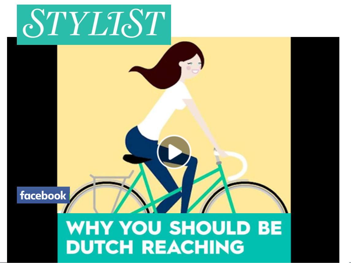 Dutch far hand reach anti dooring method video produced by Stylist Magazine for facebook. Video is montage with captions in English expalining the technique to avoid dooring cyclists or stepping out into on-coming traffic by use of the hand opposite the door to exit the vehicle.