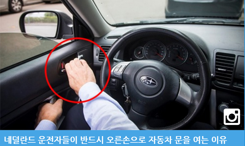 Photo: Why Dutch drivers must open their car doors with their right hands. Photo of driver's right are on left door latch, circled in red. Caption in Korean language characters, accompanies article on the Dutch Reach anti- dooring method to prevent injury, crashes with bicyclists.