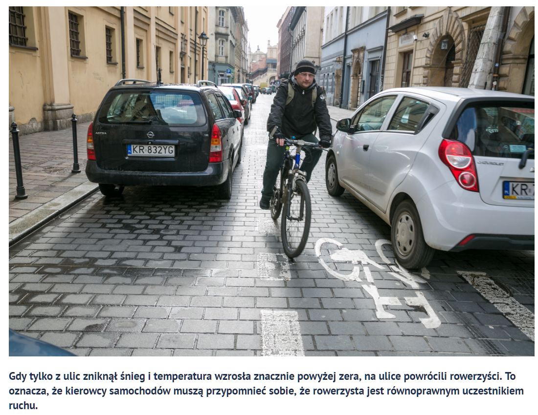 Bicyclist riding in bikelane/ door zone on cobbled Polish street  beside, parked & driving cars, illustration for Dutch Reach story.