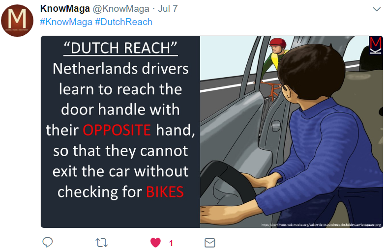 Teaching the Reach in Sri Lanka, via Twitter. English is one of the three commonly used languages in Sri Lanka, along with Tamil & Sinhala. Language is likely either Tamil or Sinhala. Illustration of a child preparing to exit car reaching with far hand (the left), turning to look for on-coming cyclists. Seeing a bicyclist approaching, he avoids opening and does not door the cyclists. Illustration by Dutch Reach Project artist Rahel Wach. Text by @KnowMaga.