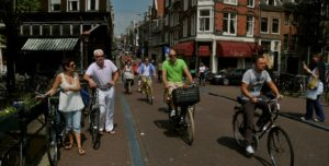 Bicyclists on street in Amsterdam