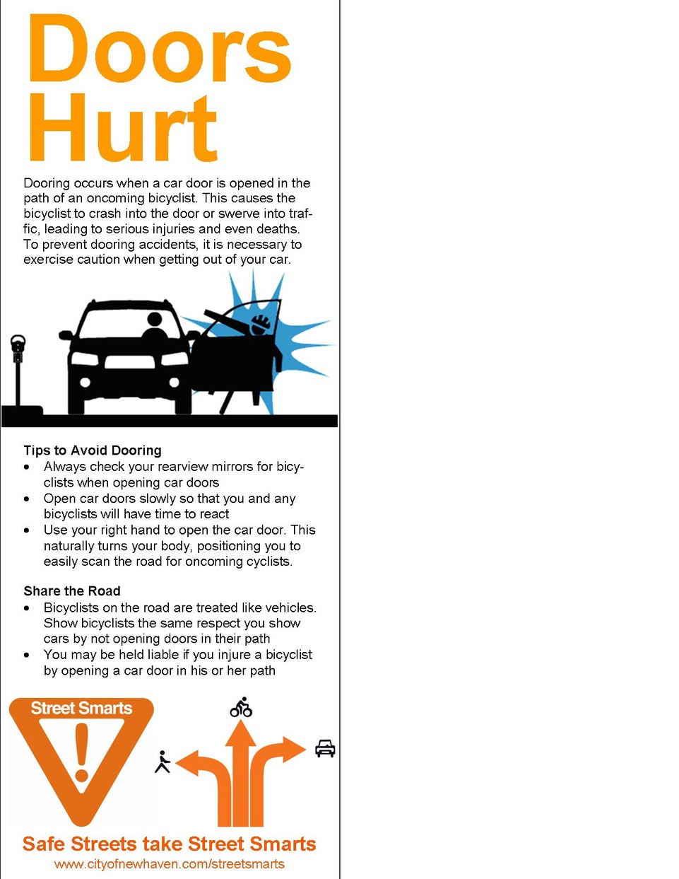 Anti-dooring flier recommends far hand method to drivers, part of New Haven, CT's Dept. of Transportation, Traffic & Parking bike safety initiative of 2013.