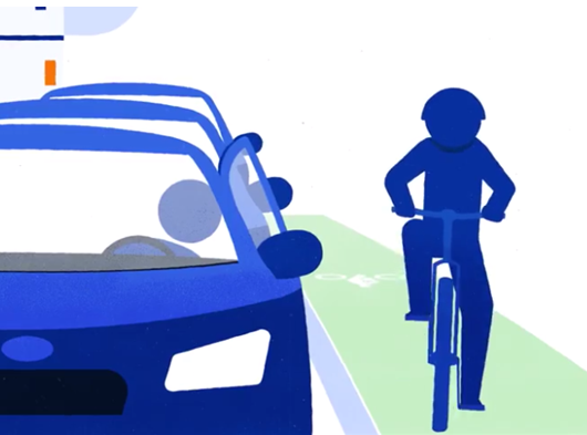 Image of a cyclist riding in bike lane approaches a parked driver about to exit.