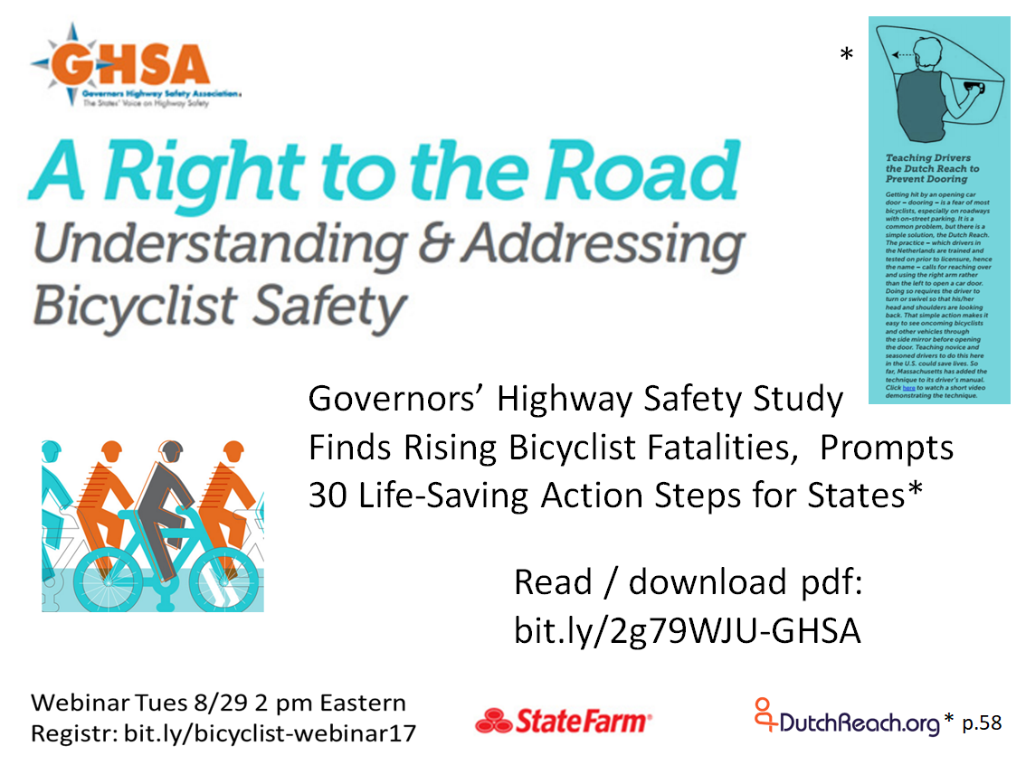 "GHSA, the US Governors Highway Safety Association issued a comprehensive study in September 2017 titled ""A Right to the Road Understanding & Addressing Bicyclist Safety"", an assessment with recommendations to all states' departments of transportation on how to reduce bicyclist casualties, injuries & deaths. It features a special inset tip advising adoption of the Dutch Reach for driver education and inclusion in driver's manual to prevent dooring collisions."