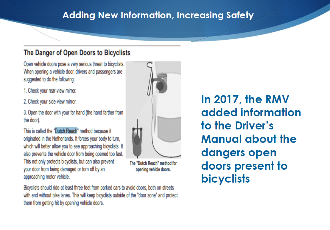 Registrar of Motor Vehicles Erin Devaney slide presention on bike safety & sharing the road, describes introduction of Dutch Reach into MassDOT's Driver's Manual & associated behavior change education campaign in Massachusetts.