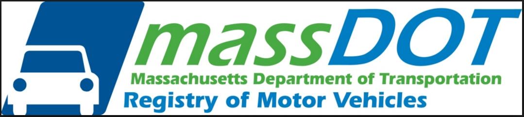 MassDOT Registry of Motor Vehicles Logo. MassDOT is Massachusetts Department of Transportation & includes the RMV.