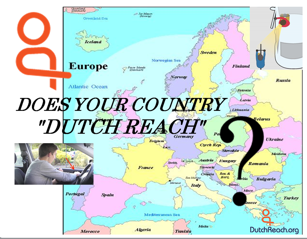 """Map of Europe & Mediterranean countries with question superimposed asking:  Does Your Country """"Dutch Reach""""?, with inset of Outside Online video screen shot of driving instructor using far hand method to initiate car door opening to avoid dooring bicyclists."""