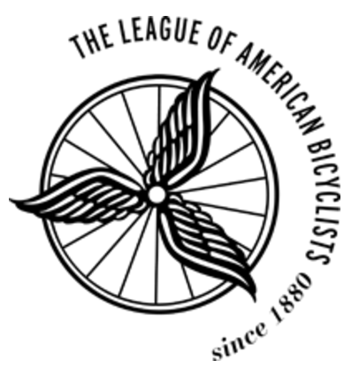 "League of American Bicyclists Logo, tri-foil wings emanate from hub of a spoked bicycle where. Full name of LAB arcs around it from ""10 am to 5 pm"" around the wheel.."