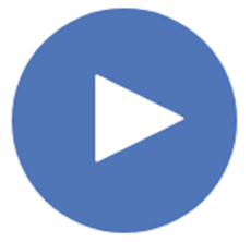 Audio Play Button white triangle on side in blue circle.