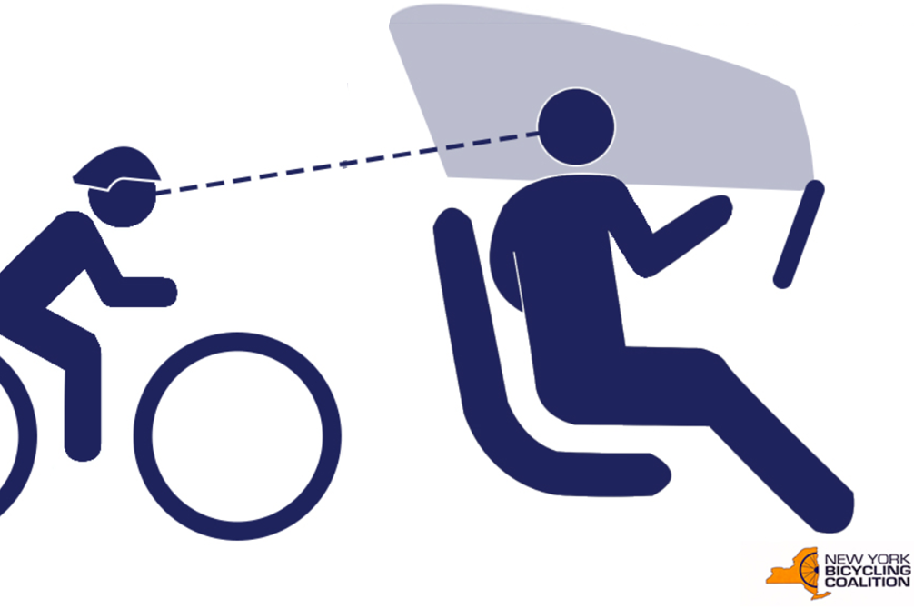 Dutch Reach Universal Sign, version with cyclist, window, steering wheel and dotted line of sight between driver & cyclist.. Figure swivels for left over-the-shoulder check for on-coming cyclists or other vehicles to avoid dooring crashes. Silhouetted iconic human figure in solid black on white background, seated but swiveled to left with right far (right) hand extended to 'door latch', head turned back over left shoulder with arrow line of sight backwards looking, scanning, for on-coming bicyclists, cyclists, vulnerable users or other traffic or vehicles which might otherwise be doored if occupant opened car door heedlessly. Doorings can result in serious, even fatal injuries to exiting drivers or passengers as well as more commonly to cyclists. The Dutch Reach method shown in the image prevents careless exiting of vehicles. This graphic symbol is intented for traffic signs, parking signs, warning to prevent and avoid doorings by exiting occupants in or adjacent to traffic or travel lanes. Credit: NY Bicycling Coalition.