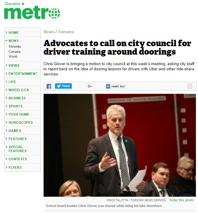 Toronto Canada Cycling Advocates Call on City Council for driver training on Doorings after Board of Health member is doored by Uber passenger. Chris Glover files motion September 25, 2017.