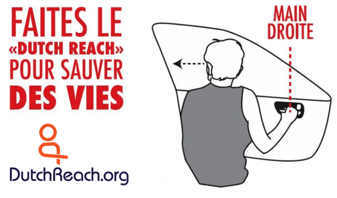"Dutch Reach anti dooring sticker reads Faites le ""Dutch Reach"" pou8r sauver des vies.  Logo URL: www.dutchreach.org with logo figure by Pat Bibbins.; line drawing by Lissy Herman for the Dutch Reach Project."