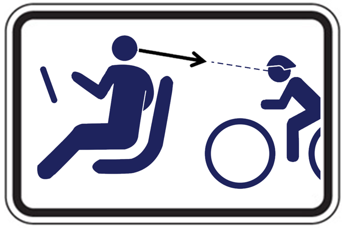 Dutch Reach Parking Alert sign for UK with Black silhouette of driver & approaching cyclist on on black figures on white background. Driver is turned facing back with far hand on door latch, doing the Dutch Reach technique, using far hand anti dooring method to open latch, turned & to look over shoulder to scan for on-coming bicyclists or traffic. Figures & bike wheels are in ISO international standards organization's style.No logos. Design by New York Bicycling Coalition & Dutch Reach Project.