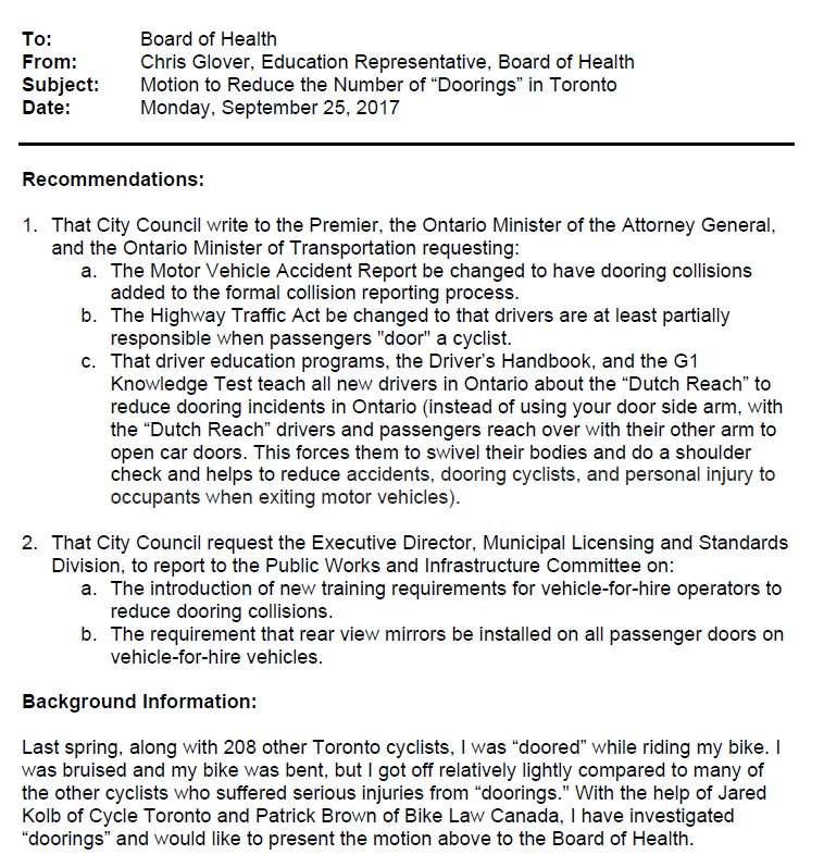Toronto City Council motion submitted on Doorings by Ride Shares Sept 25, 2017 1/3.