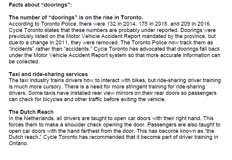 Toronto City Council motion submitted on Doorings by Ride Shares Sept 25, 2017 3/3.
