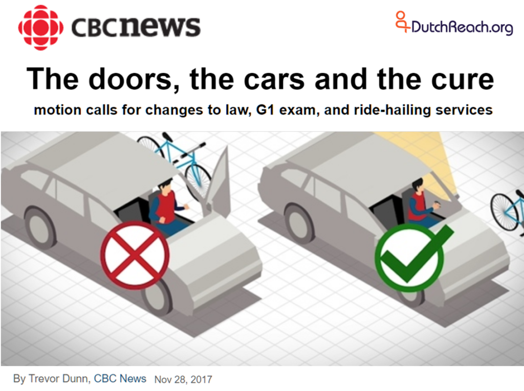 CBC News Nov 28 coverage of Toronto Canada anti dooring motion before the Public Works Comittee which recommends 5 methods to reduce doorings of cyclists by heedless drivers & passengers, & ride sharing vehicles of Uber & Lyft.