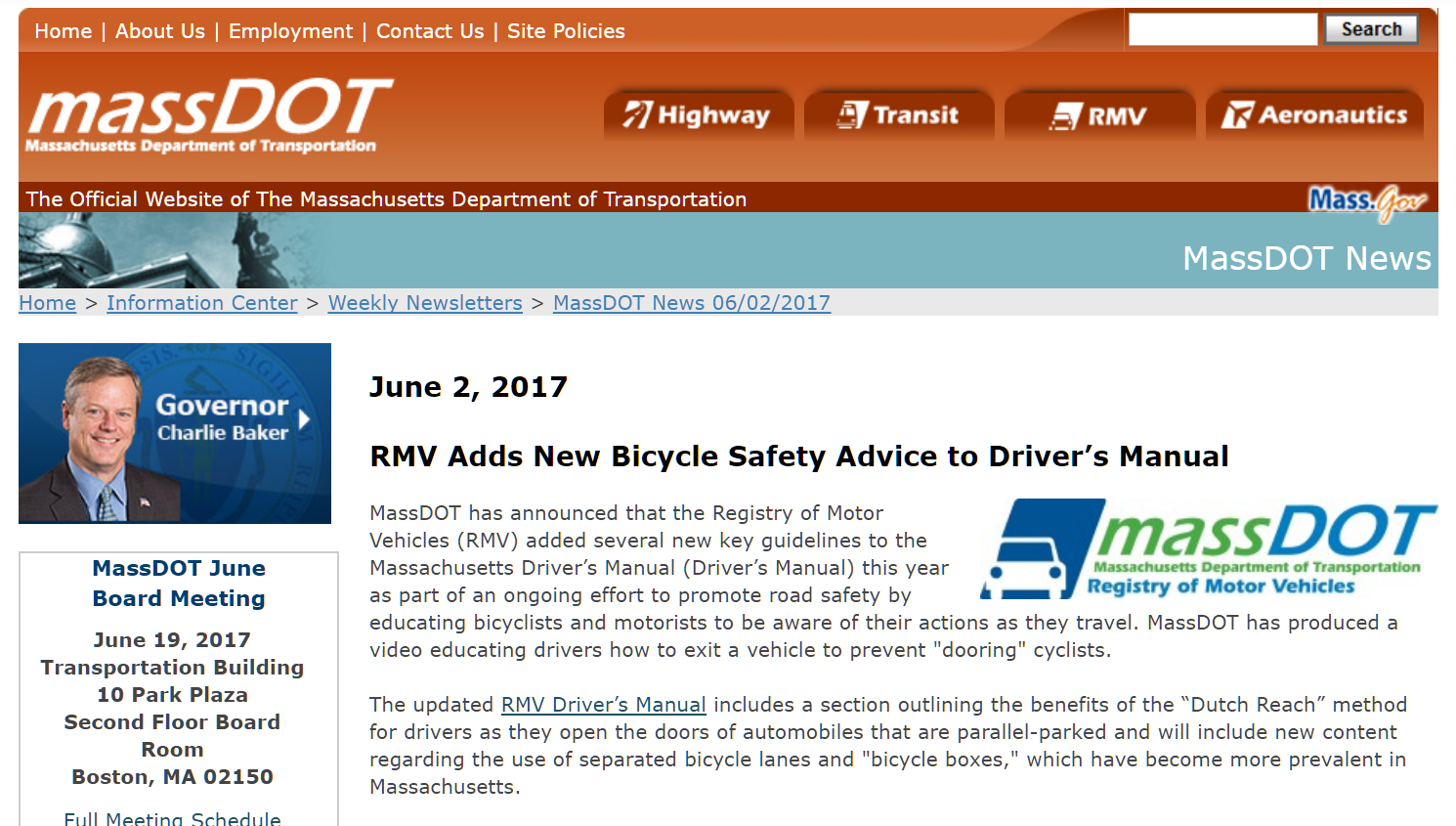 Official MassDOT announcement: state driver's manual now includes Dutch Reach far hand method to avoid dooring bicyclists thus prevent crashes, accidents harming cyclists, endangering drivers and passengers, & reducing door damage, EMS/EMT & medical costs.