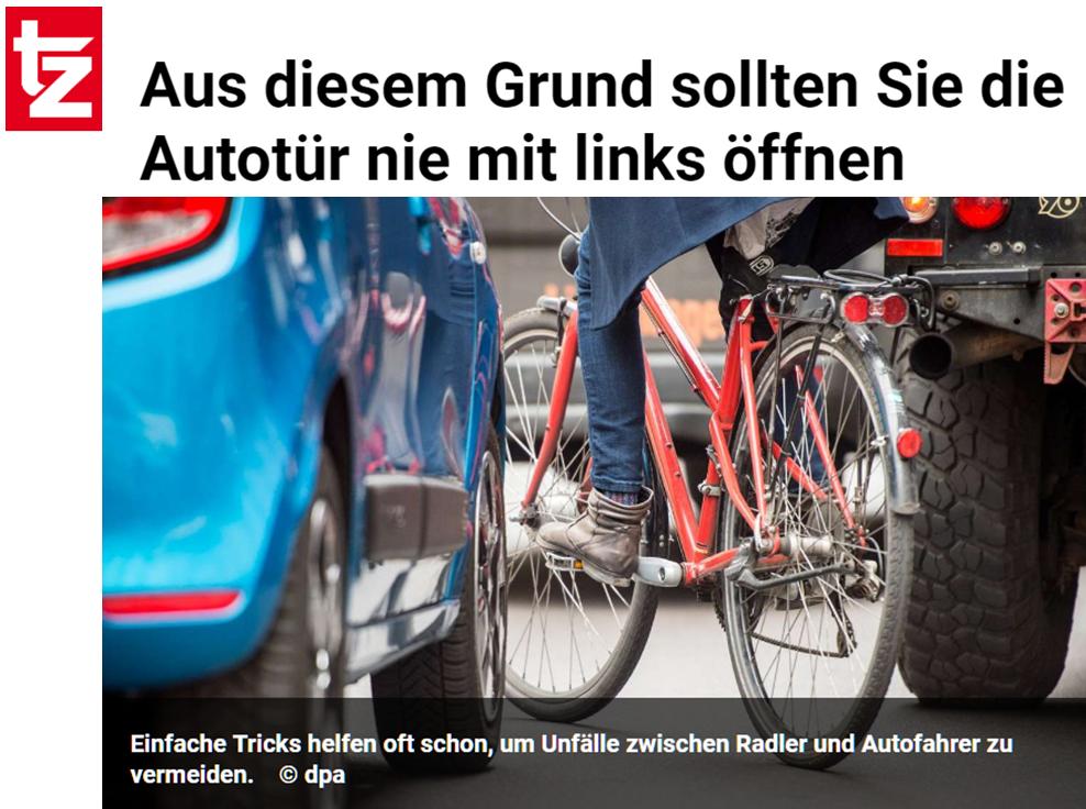"""""""Dutch Reach"""" Aus diesem Grund sollten Sie die Autotür nie mit links öffnen. Simple tricks often help to prevent accidents between cyclists and motorists: Dutch Reach to avoid dooring cyclists."""