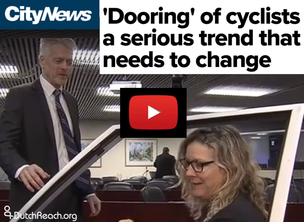CityNews Toronto video of Dooring crisis that City Council must address. Demonstration of Dutch Reach anti dooring motion done with a car door during Council meeting.