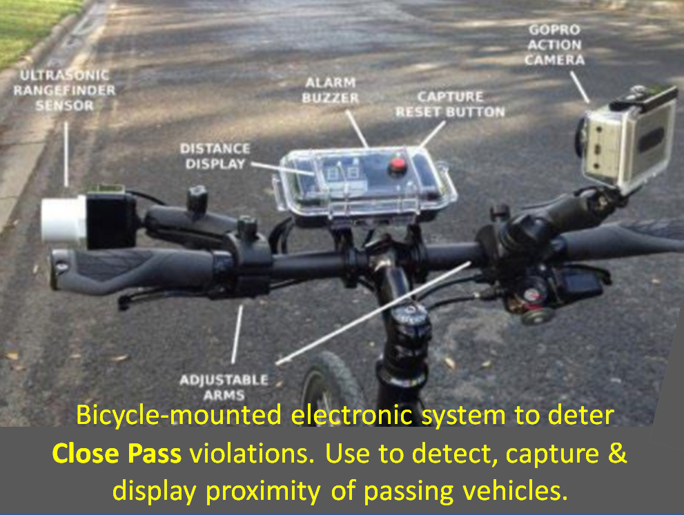 Technology to detect close pass violations by vehicles when used by police bicycle safety unit to enforce laws against dangerous passing by motorists.