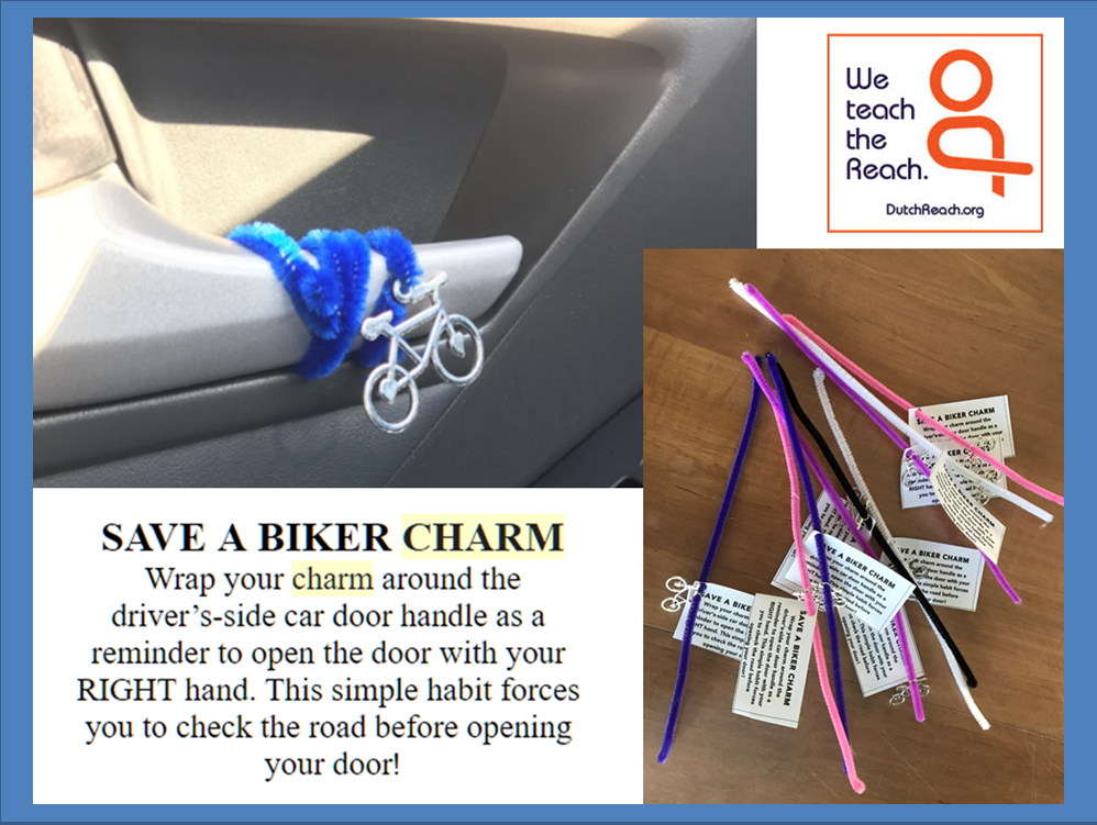 Tweet composite graphic of home-made Dutch Reach reminders using plastic bicycle charm or text tags describing the Dutch Reach far or opposite hand method for safer opening of car doors to exit as it forces you to look out & back for cyclists.