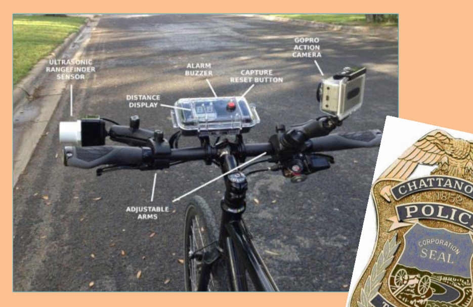 Photo of bicycle handle bar mounted detection and recording devices used by Chattanooga Police to deter and enforce close passing law to protect bicyclists from collision by motor vehicles operating illegally when passing within 3 feet.
