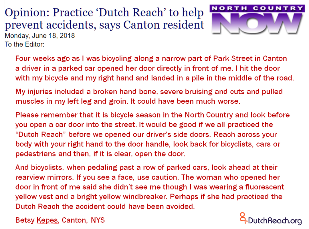 Letter To Officials After Yet Another Dooring  Dutch Reach Project