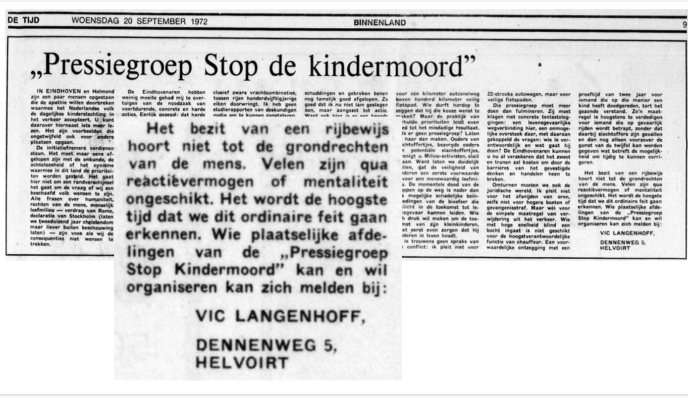 Stop De Kindermoord Protests Led To Nl Road Safety Reach